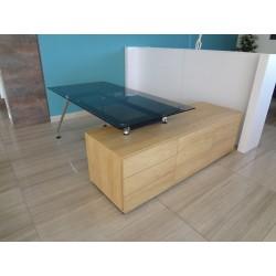 biurko ze szklanym blatem i dostawką
